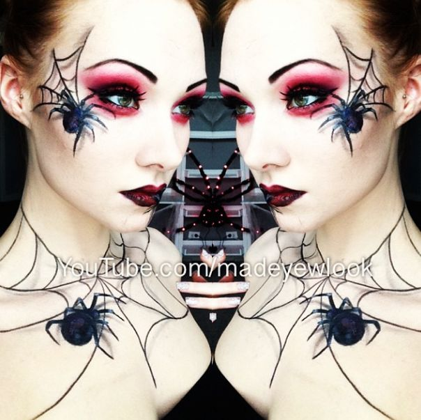 Drawn spider face Easy spiders Makeup! on makeup