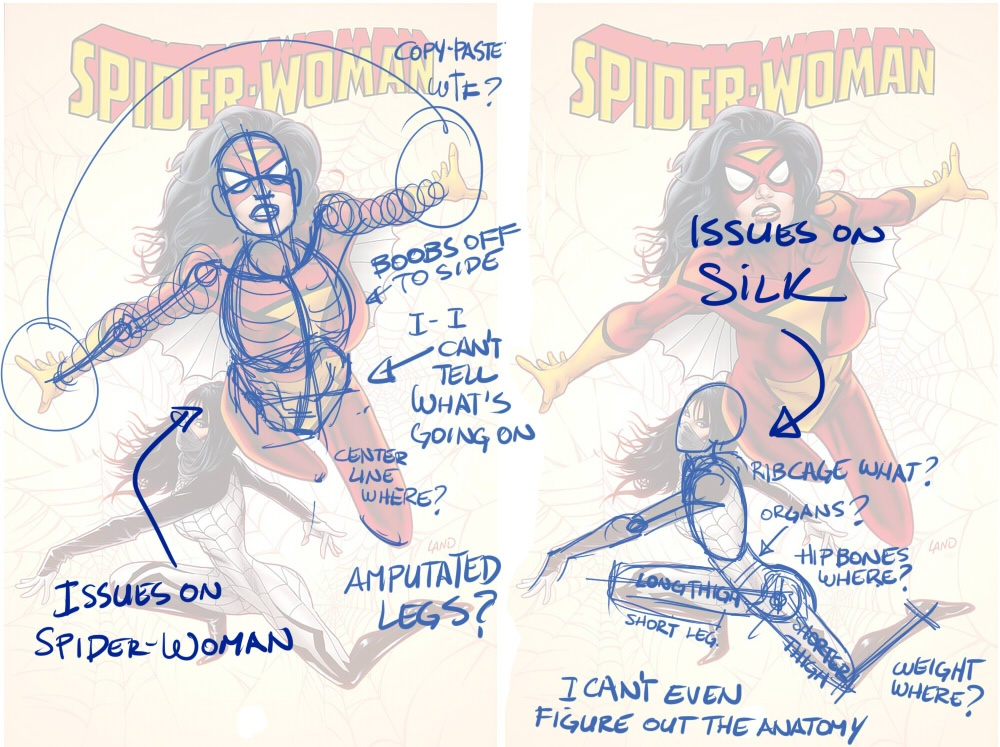 Drawn spider female Greg Land's The Woman Milo
