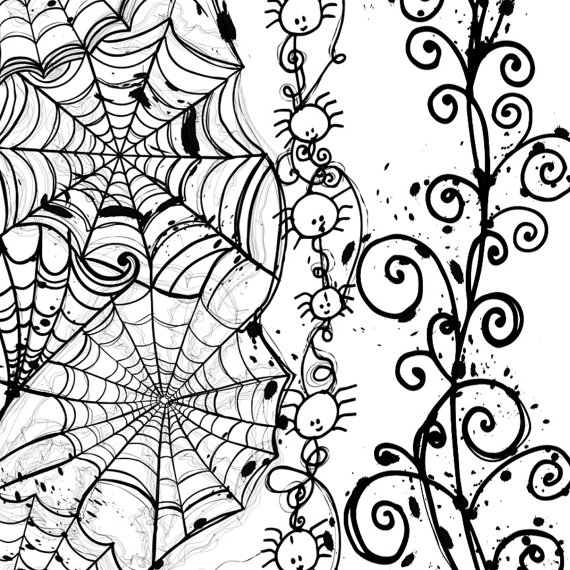 Drawn spider web graphic ClipArt Spider Digital Drawn Stamps