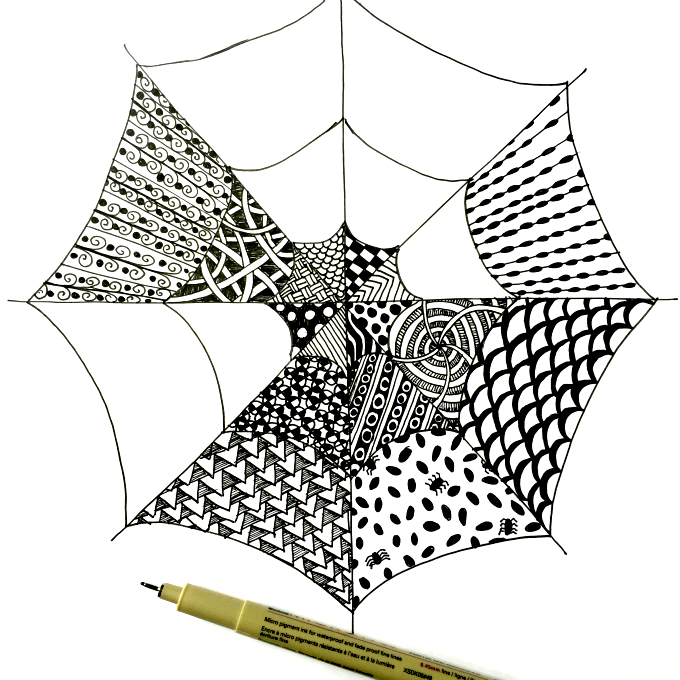 Drawn spider kid For Easy Zentangle Spiderwebs Zentangle