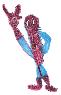 Drawn spider kid Ironjeff of Person Deaf Spider