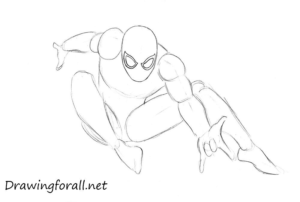 Drawn spider line drawing #14
