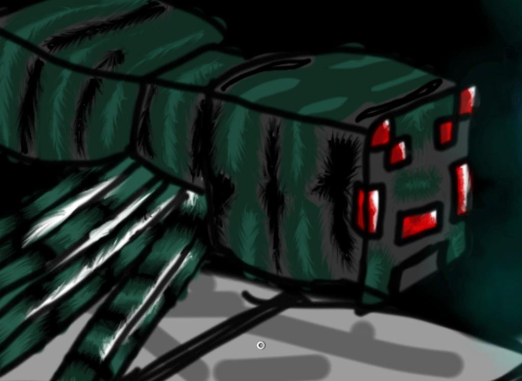 Drawn spider minecraft Cave by Speedartstudio Cave by