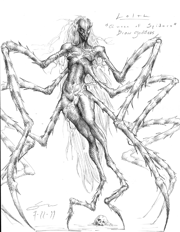 Drawn spider monster Her in pic Dragons full