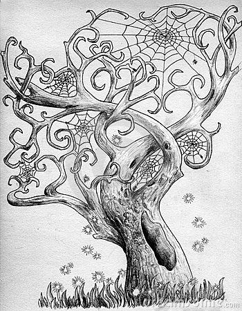 Drawn spider not Ideas branches on with interlaced