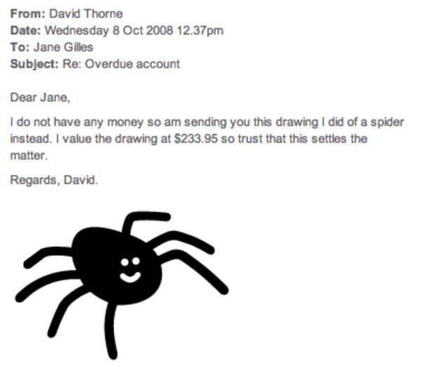 Drawn spider not David in of it three