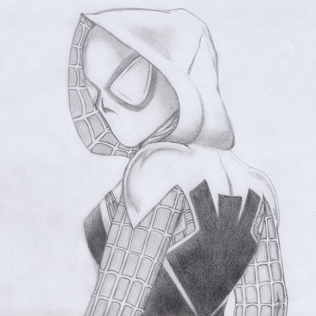 Drawn pencil spider Drawing!!!  Gwen #gwenstacy #spiderwoman