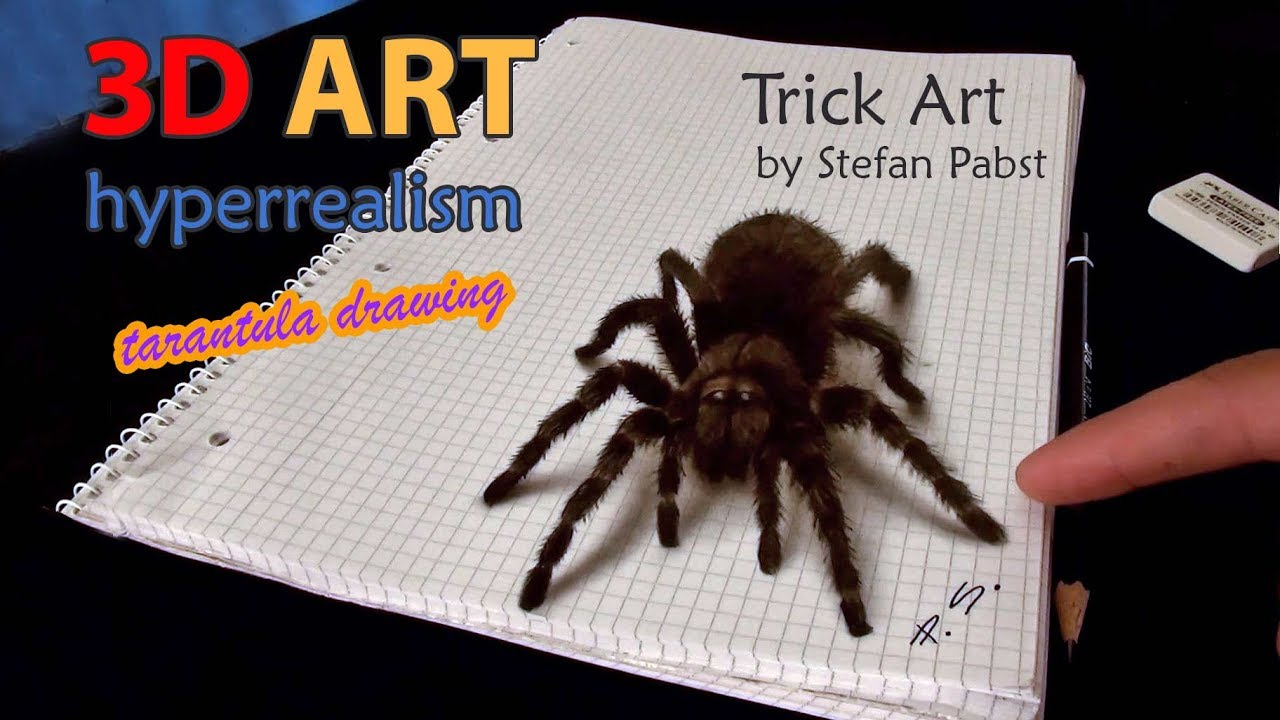 Drawn spider real Spider realistic illusion! Drawing/AMAZING 3D