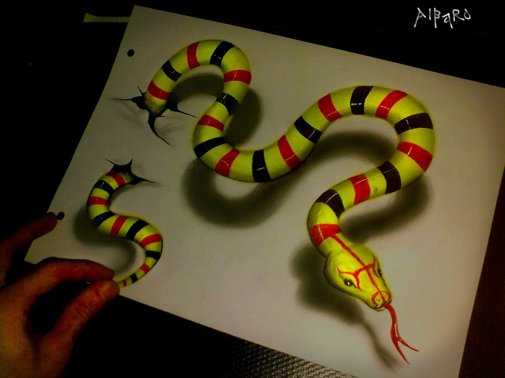 Drawn 3d art snake Time Realistic Lapse YouTube 3D