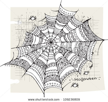 Drawn spider web doodle Web ShutterStock via by Halloween