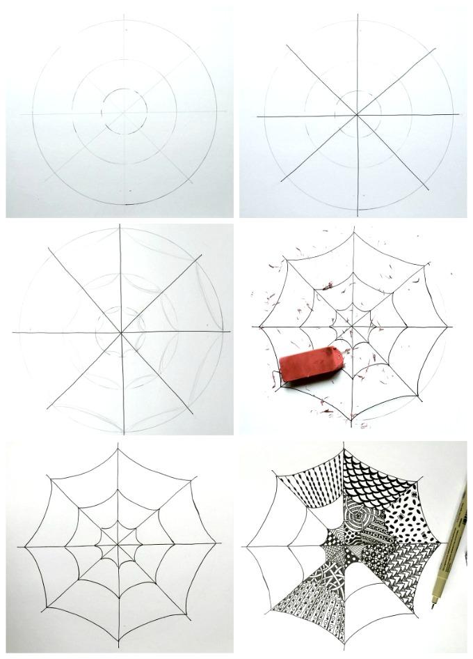 Drawn spider web kids Step by Step with Spiderwebs