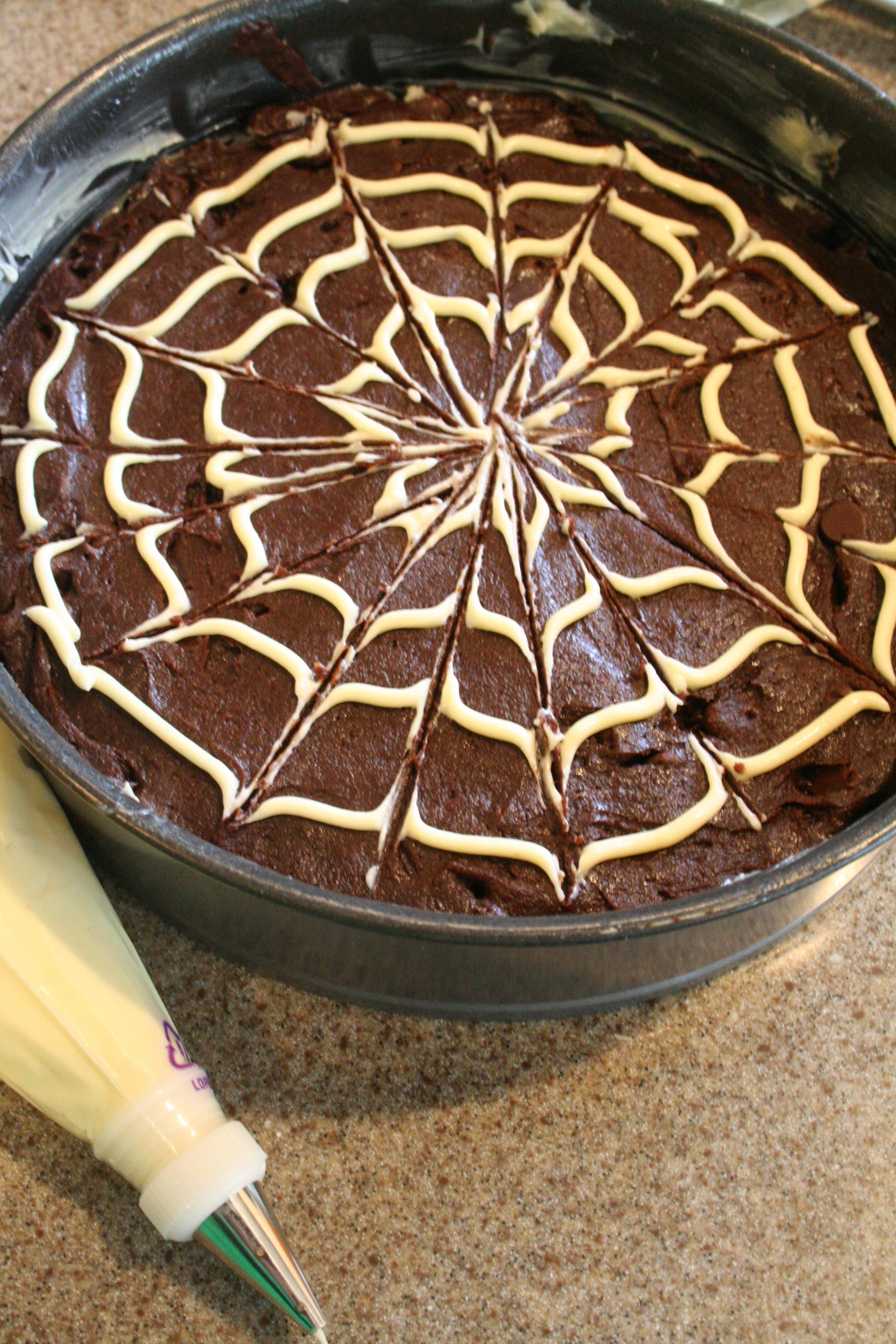 Drawn spider web wet Cake circles it Brownie circle
