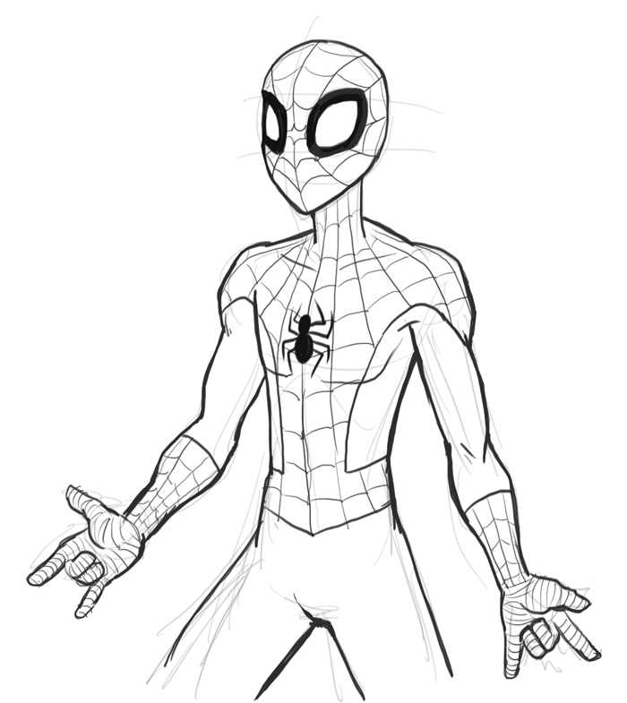 Drawn spider-man Spiderman digital to online draw