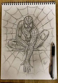 Drawn spiderman pencil sketch PRINT Sketch Pencil Spiderman Etsy
