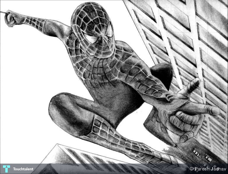 Drawn spiderman pencil sketch Paresh Man Sketching For Touchtalent