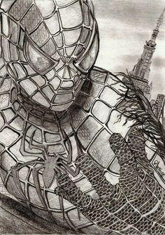 Drawn spiderman pencil sketch Prismacolor Spiderman by  Great
