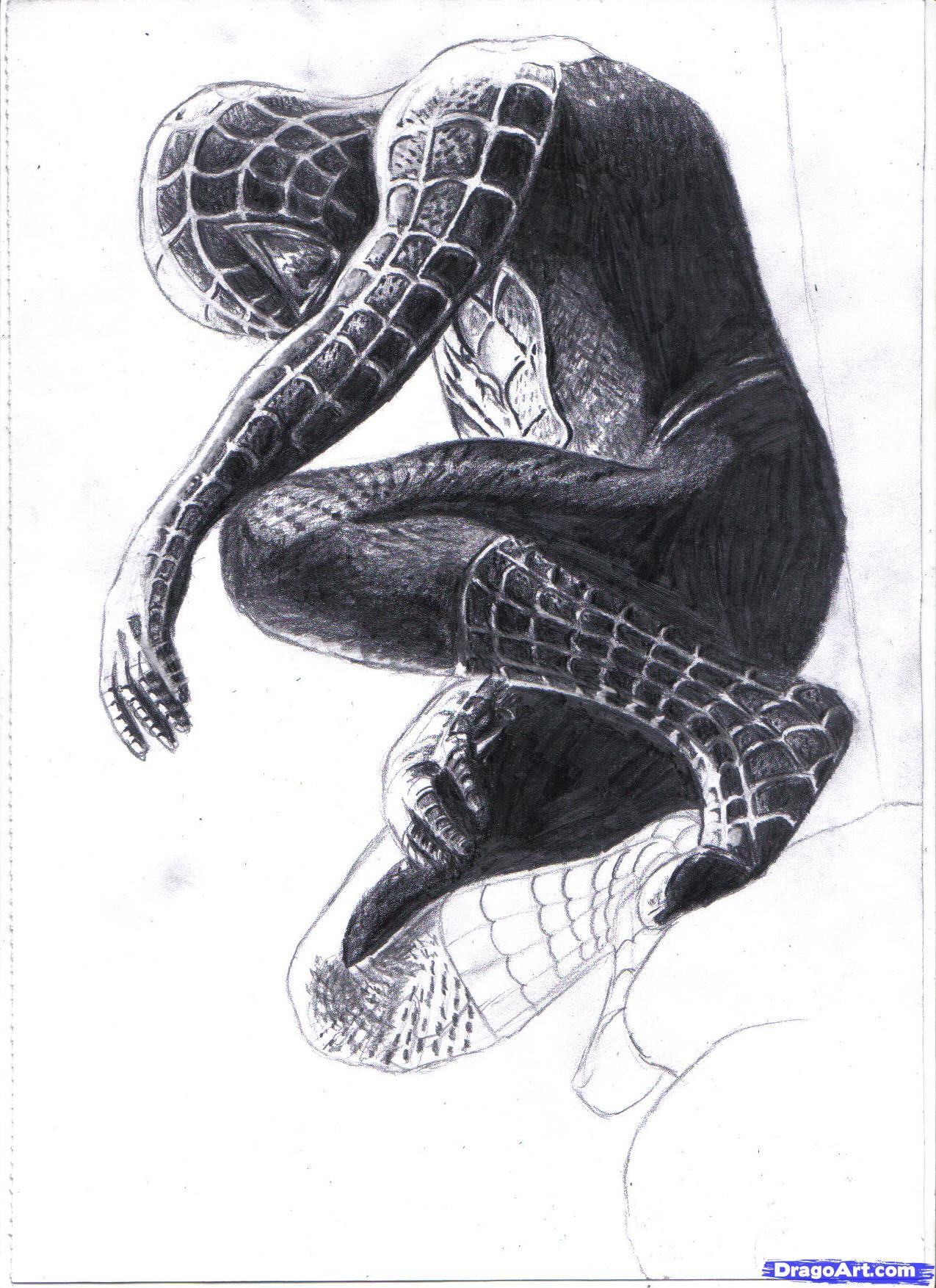 Drawn spiderman pencil sketch Black White Spiderman Black Step