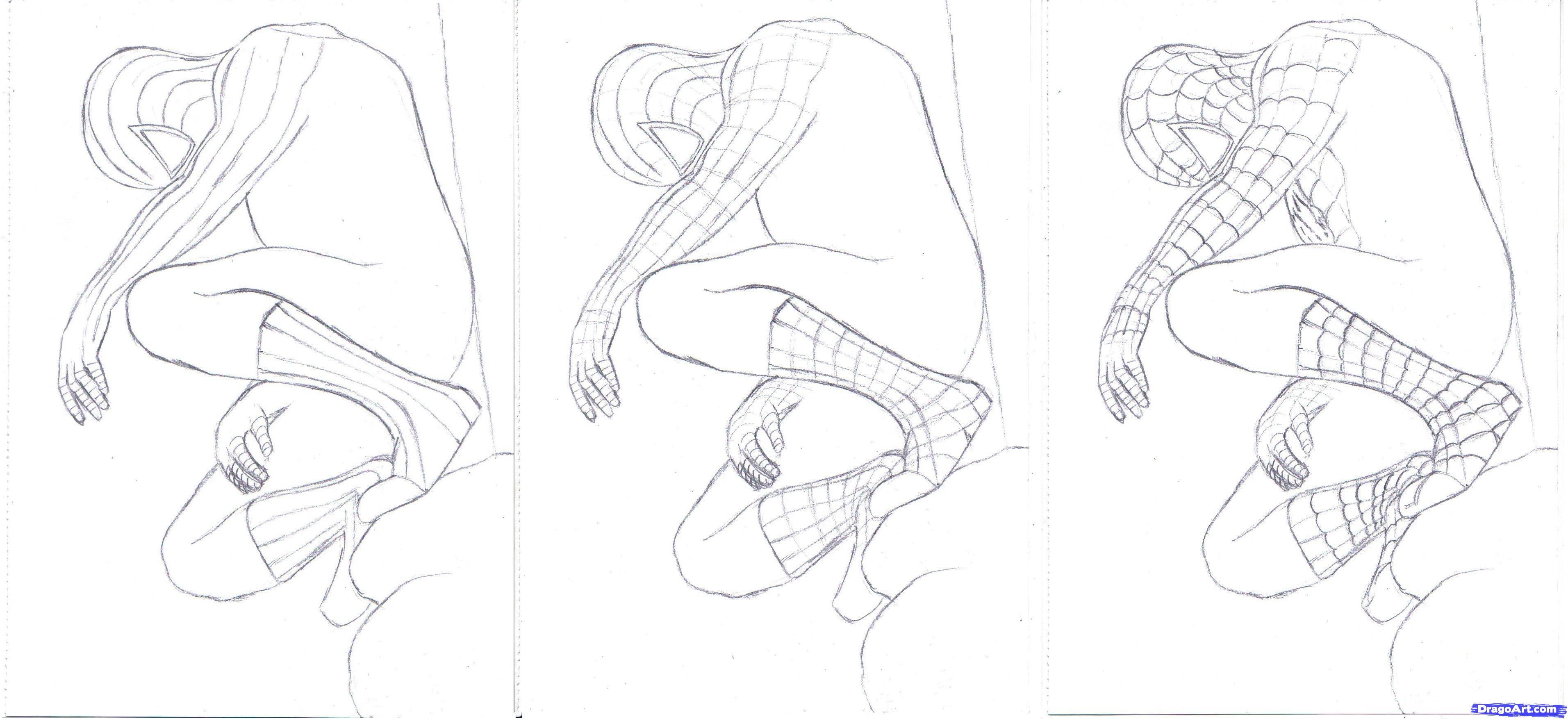 Drawn spiderman step by step Marvel Step Black  to