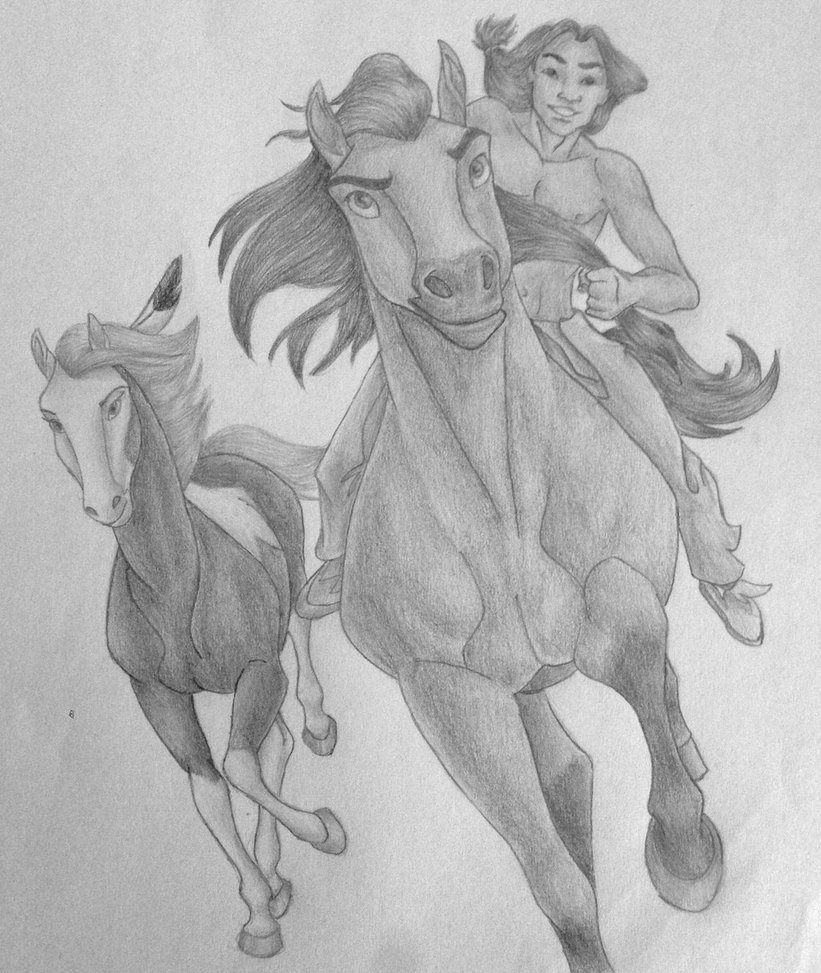 Drawn spirit easy Horses rearing how of The