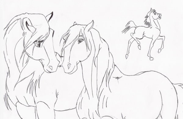 Drawn spirit mustang horse By by mustang lineart spirit
