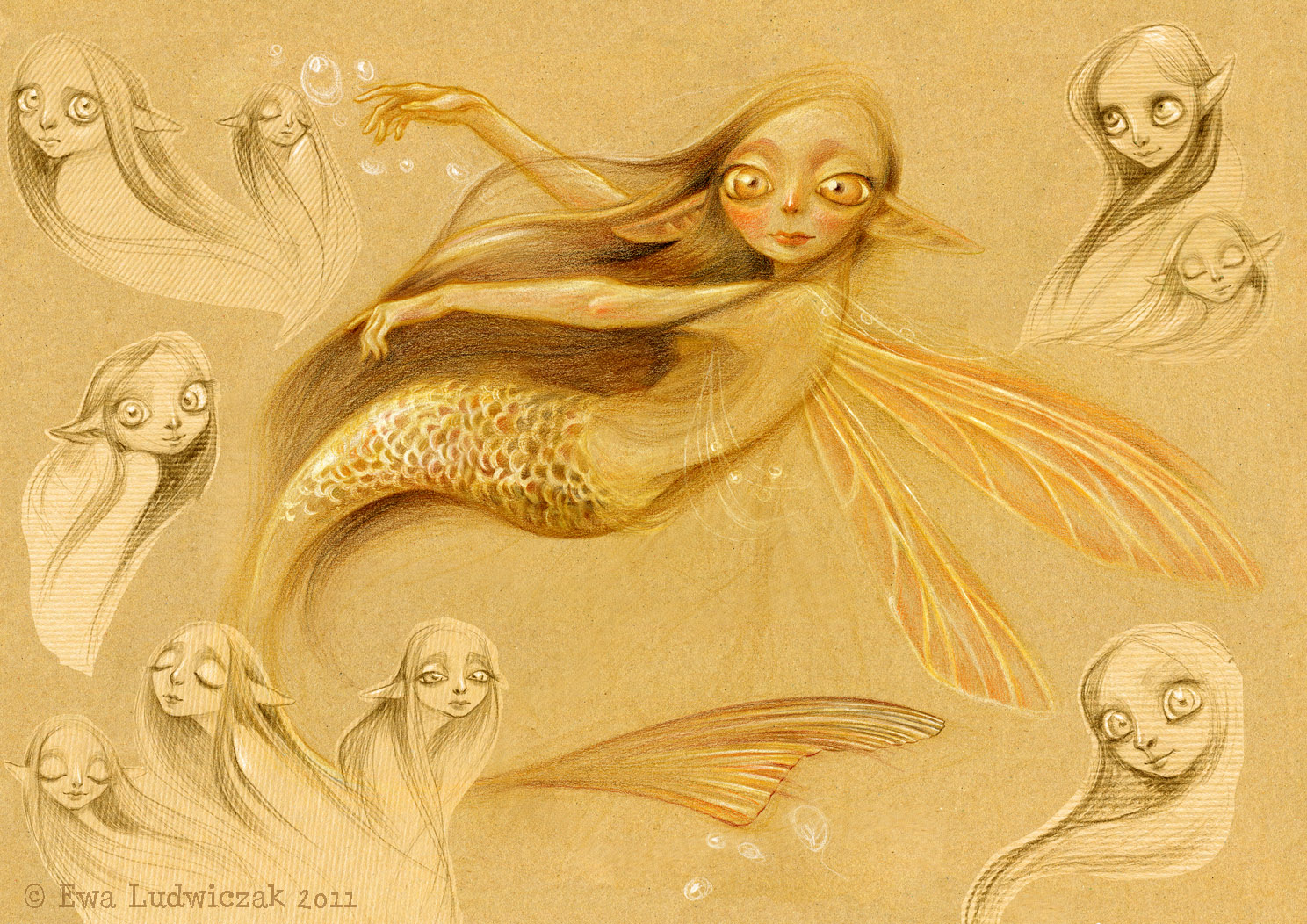 Drawn spirit sketch – Passionate spirit Ewa watercolour