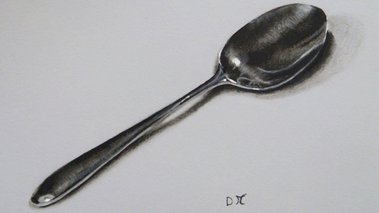 Drawn spoon pencil drawing Realistic Time YouTube Spoon lapse