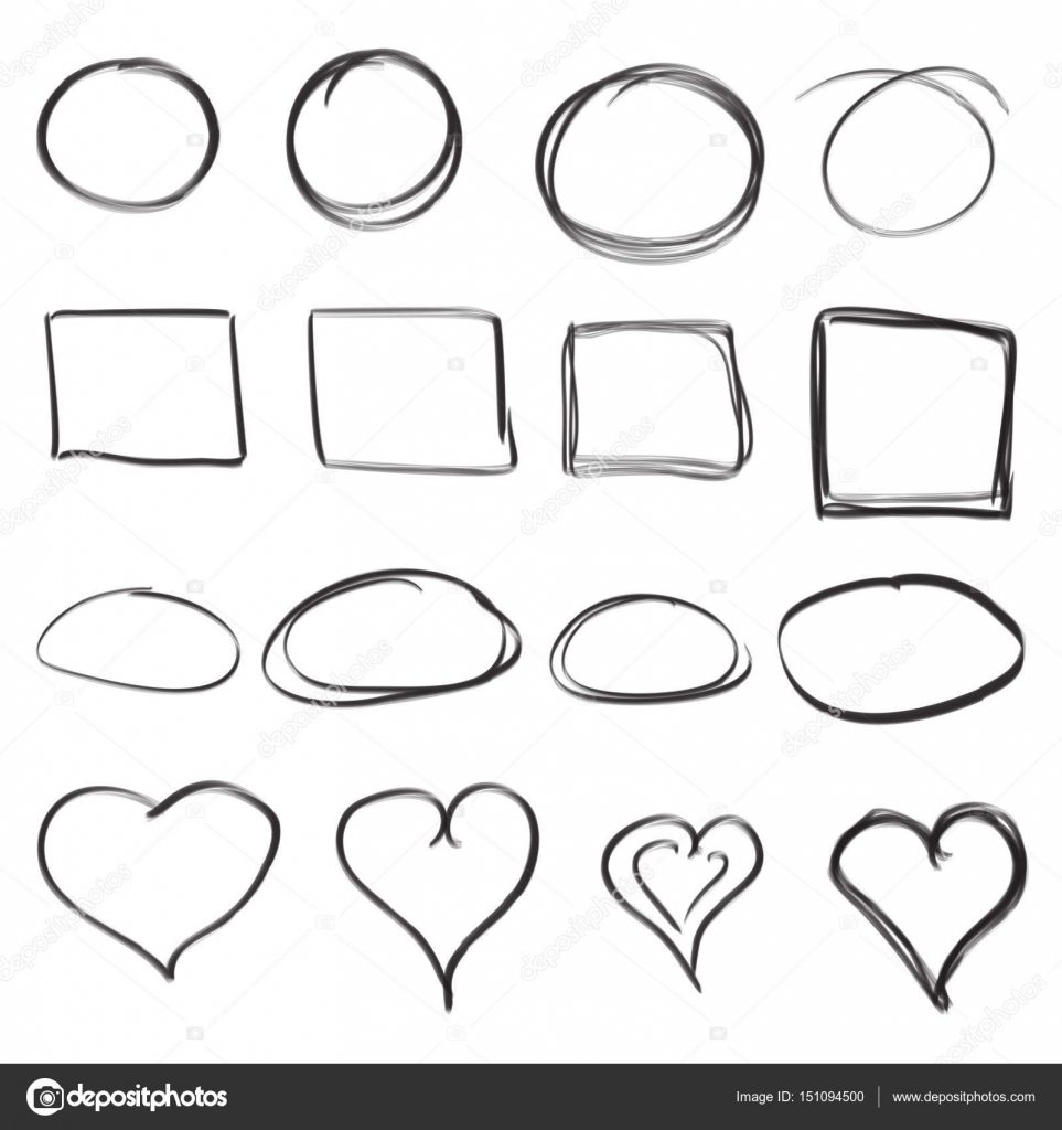 Drawn squares Collection icon Hand hearts and