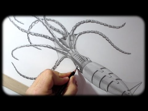Drawn squid awesome Squid Robot Timelapse Drawing Drawing