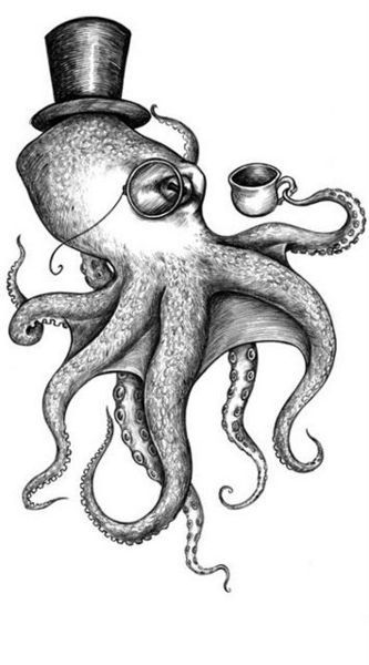 Drawn top hat small Squid Cephalopod and and Pinterest
