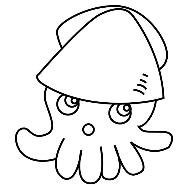 Drawn squid coloring page Squid Book Coloring Pages Creative