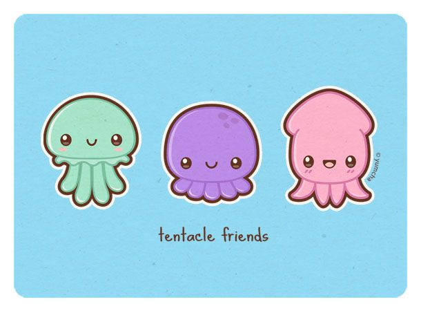 Drawn squid cute Octopus squid n_n jellyfish Cute