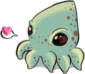 Drawn squid cute CAT  CATASTROPHE