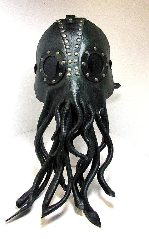 Drawn squid diva helmet Cthulhu STOCK leather Kraken Mask