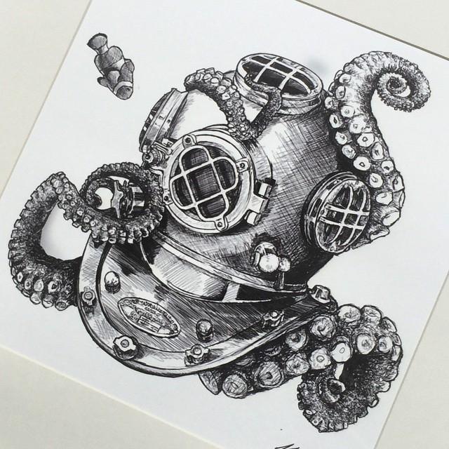 Drawn squid diver helmet More helmet helmet Diving …