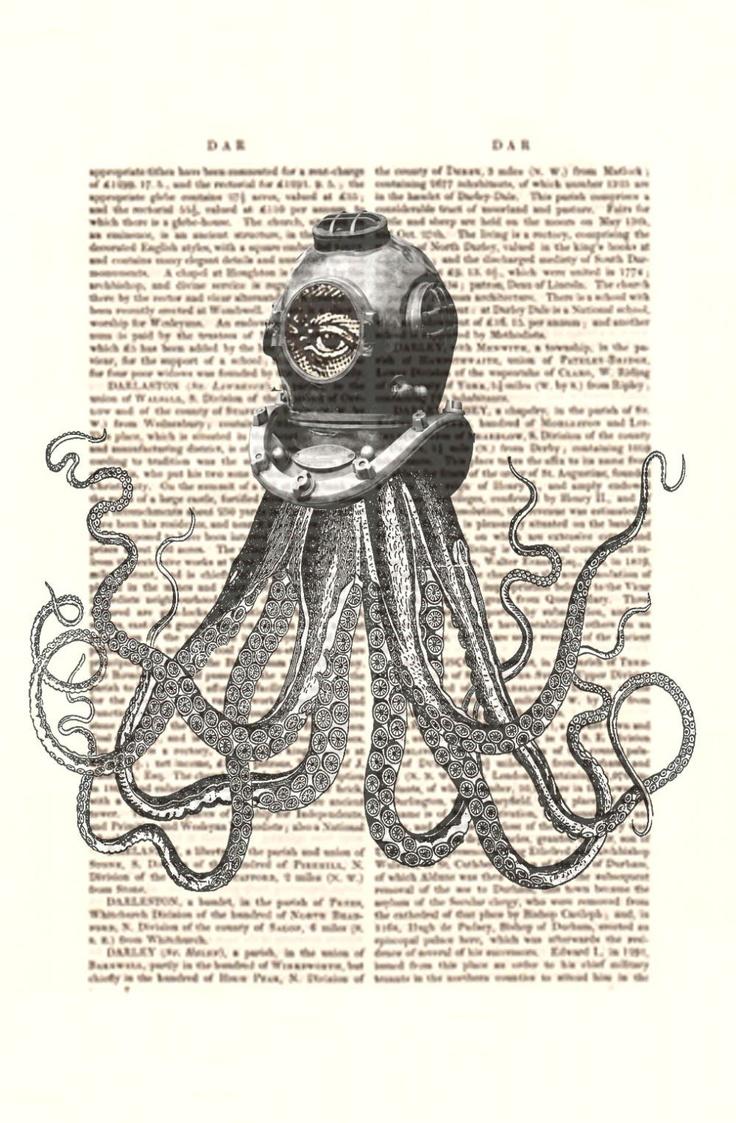 Drawn squid diver helmet Scuba decor décor Octopus Best