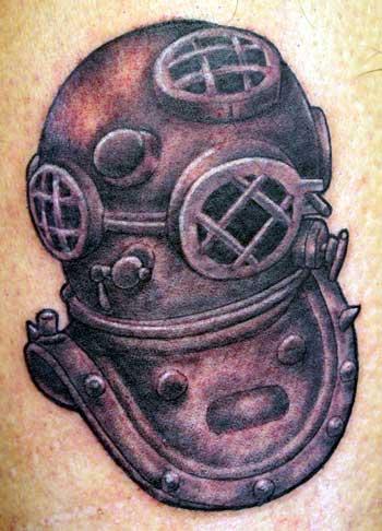 Drawn squid diver helmet Tattoo helmet helmet diving tattoo