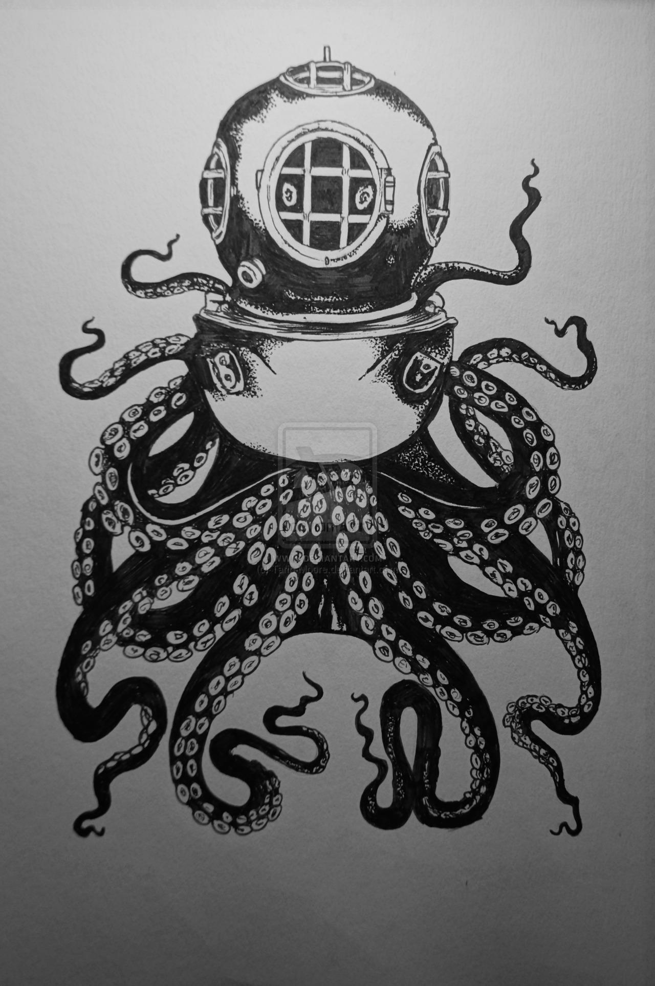 Drawn squid diver helmet Drawing works Pinterest for Art