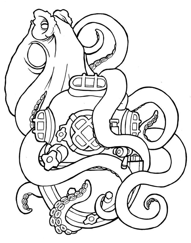 Drawn squid diver helmet 25+ sea diver The Deep