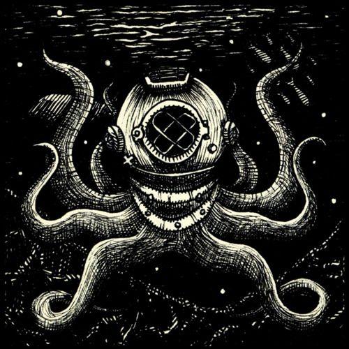 Drawn squid diver helmet Images on Squid Diving Octopus
