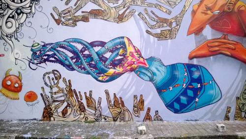 Drawn squid graffiti Art by Expedia Amsterdam item