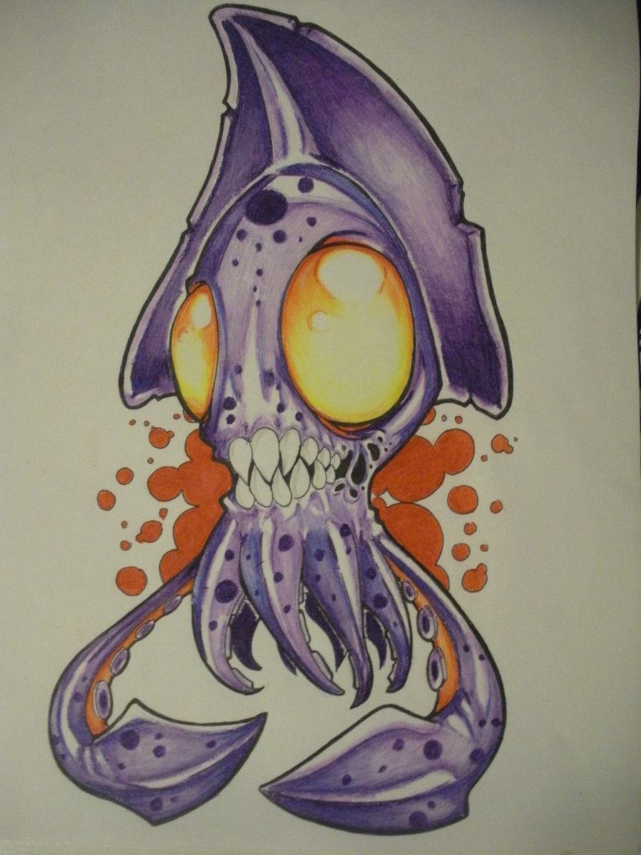 Drawn squid octopus  Character 3D Funny Designs