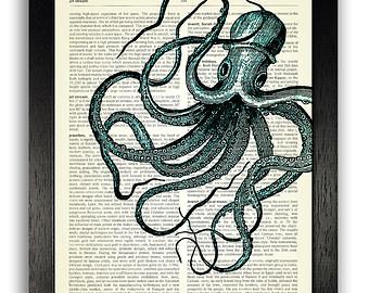 Drawn squid octopus Themed Decor ART Ocean Squid
