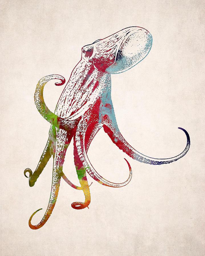 Drawn squid octopus Designs Art Animal World Digital