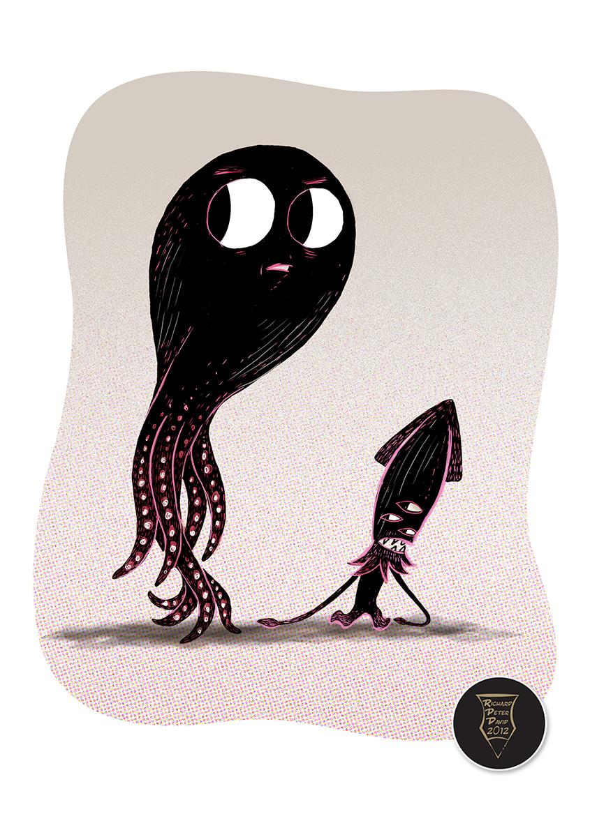 Drawn squid octopus – squid Octopus using squid