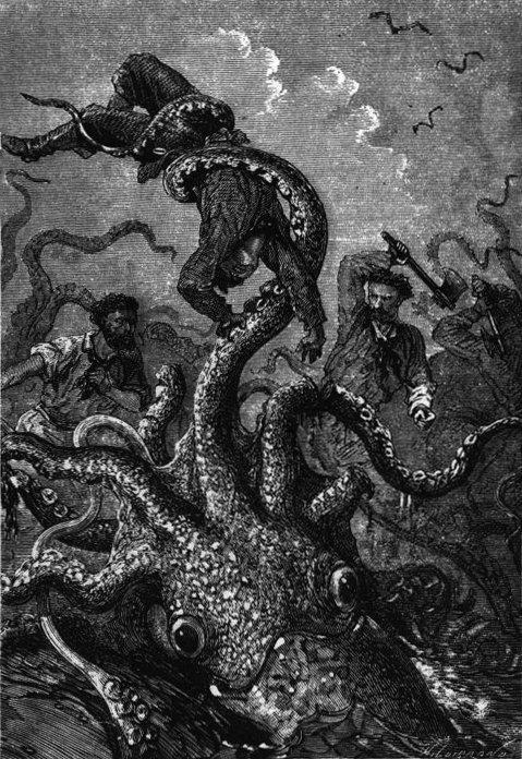 Drawn squid sea creature A for Verne Squid Leagues