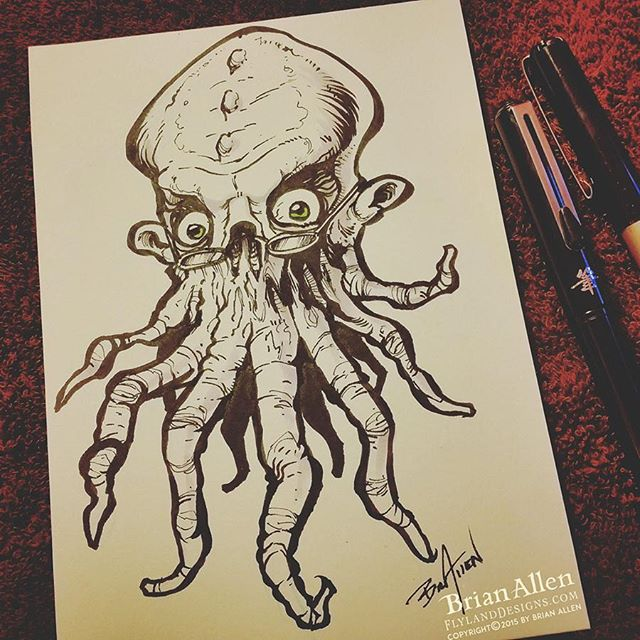 Drawn squid squid monster Bookish #Inktober Sketch drawing the