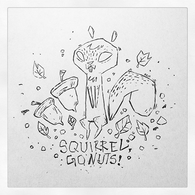 Drawn squirrel doodle #drawing #leaves squirrel  #cute