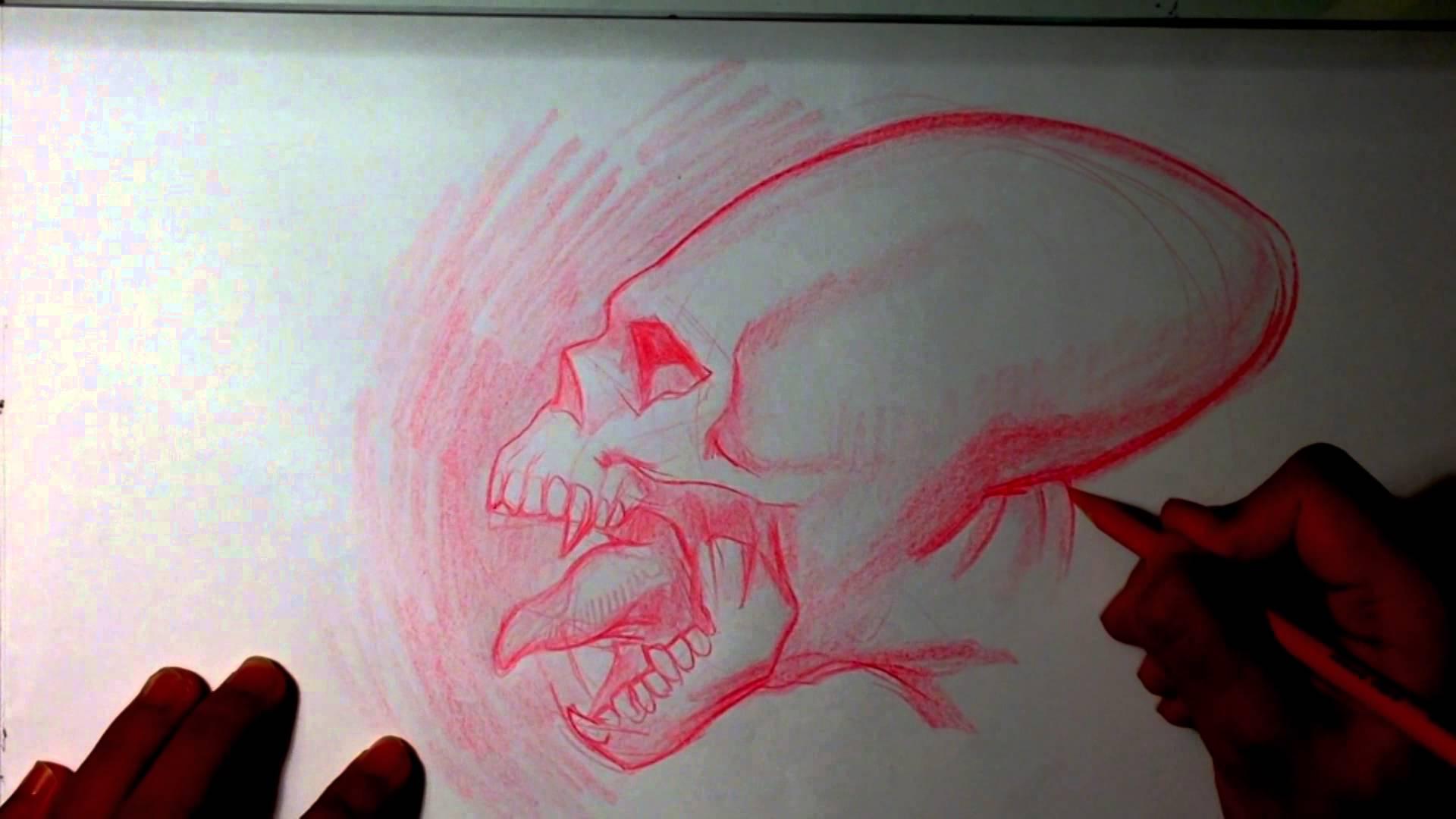 Drawn skull alien Skull YouTube Drawings Alien Skull