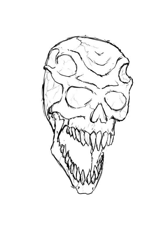 Drawn skull alien By monster by Alien thingy