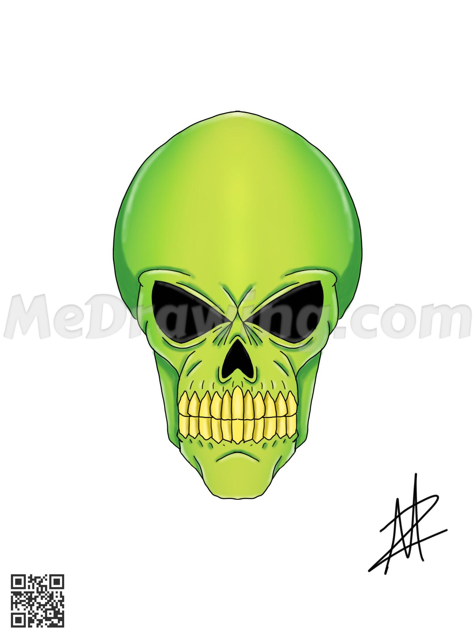 Drawn skull alien Colored Skull Drawing  Alien